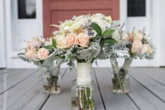 aneomes , garden roses , pastel ,  farm , barn , jd designs , lea st germain photography , nh wedding , rustic , kitz farm , pastel , gray , bouquet , bridesmaids