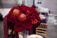 centerpiece , details , purple , red , gold , museum , currier museum , art , jd designs , claris photography , chic , modern , exquisite linens and floral