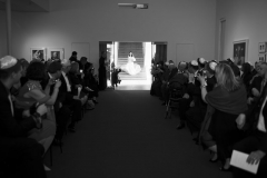 ceremony, walk down the aisle , museum , decordova , art , modern , romantic , library , liz linder photography , boston , boston wedding , black and white
