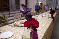 head table , red , purple , gold , overlay , museum , currier museum , art , jd designs , claris photography , chic , modern , exquisite linens and florals