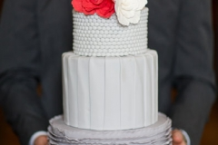 jd designs , lea st germain photography , boston, boston wedding, red , gray , ombre , cake ,ruffles , giblees , smith and wollensky , two cups of sugar details