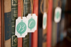 library, chic , romantic , classy , gold , ivory , teal , roses , books , person and killian photography , jd designs , the hampshire house , lynn graham designs , boston , wedding , place cards ,