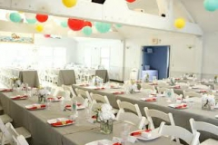 pita hall , plum island , newburyport , paper lanterns , aqua , red , yellow , white , vintage , chic , gray , pastel