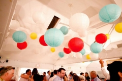 pita hall , plum island , newburyport , paper lanterns , aqua , red , yellow , white , vintage , chic