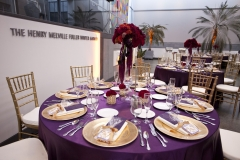 purple , gold , centerpiece , red , museum , currier museum , art , jd designs , claris photography , chic , modern , exquisite linens and florals