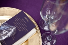 purple , gold , menu , soiree andover , museum , currier museum , art , jd designs , claris photography , chic , modern