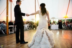 wedding gown , museum , decordova , art , modern , romantic , library , liz linder photography , boston , boston wedding , tent , repcetion , first dance
