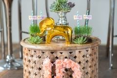 lea st germain photography, august and osceola, whimsical, wood, decor, green, pink, succulent, jddesigns, stylist, styled, urban, chic, gold, greenery, elephant, reserve event rental, end table